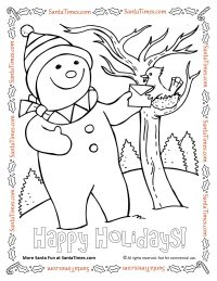 Happy Holidays Snowman Coloring Page