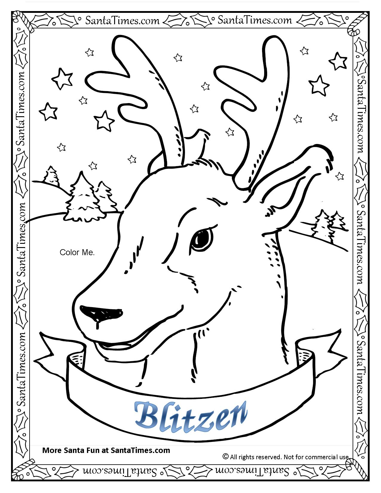 blitzen the reindeer printable coloring page