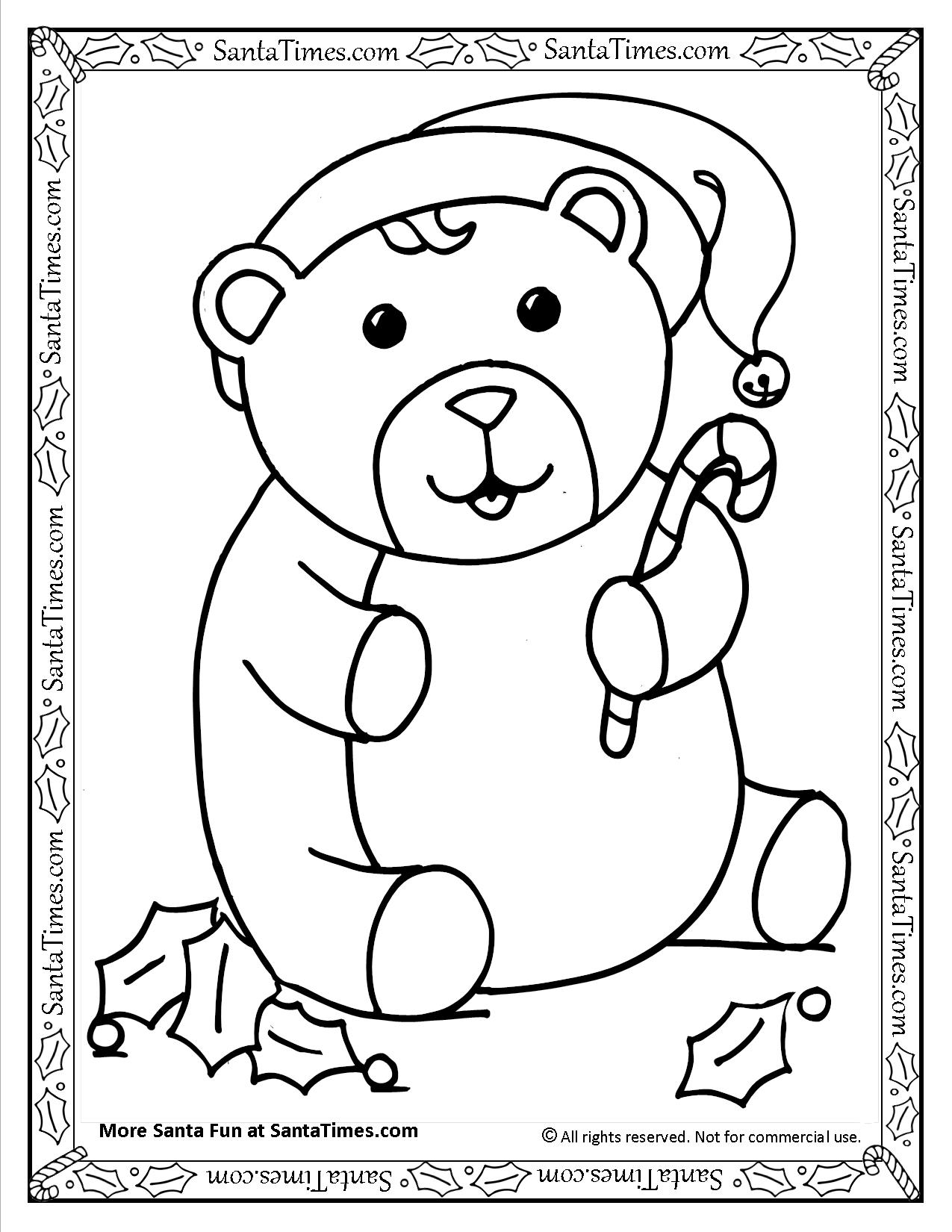 Christmas Bear Printable Coloring Page