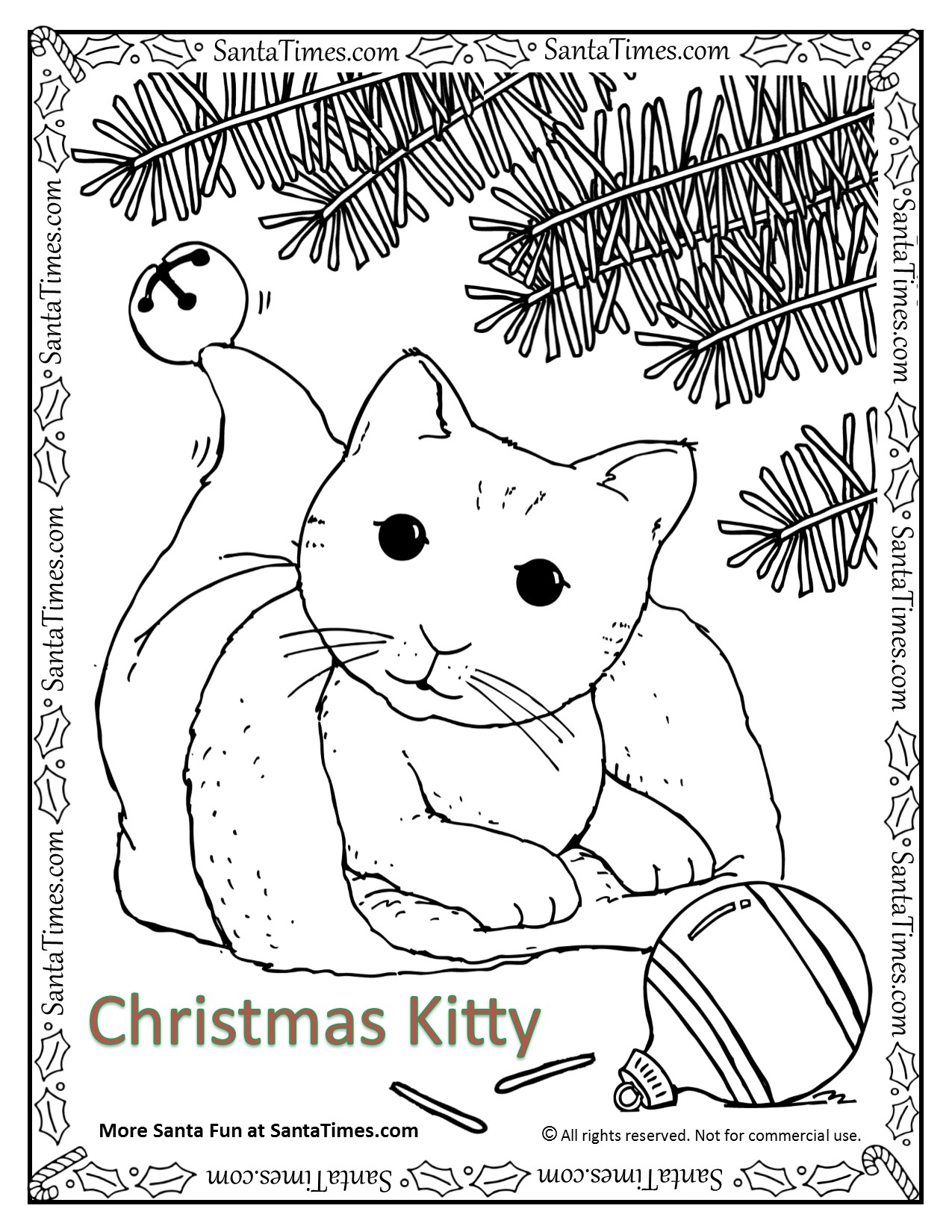 Christmas kitty coloring page for Christmas kitten coloring pages
