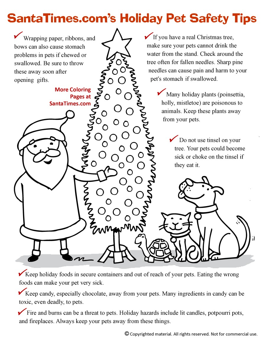 santas christmas pet safety printable coloring page