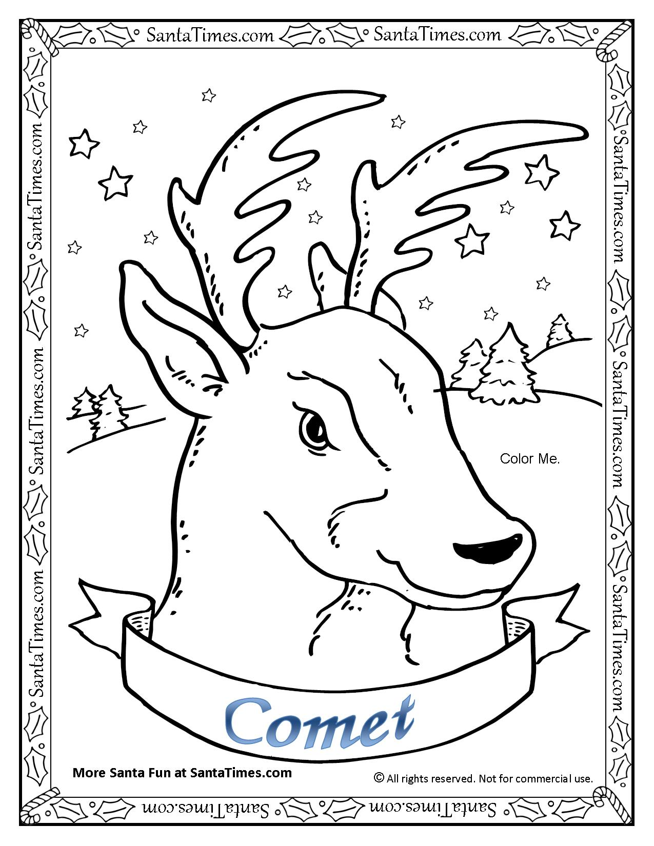 Comet The Reindeer Printable Coloring Page