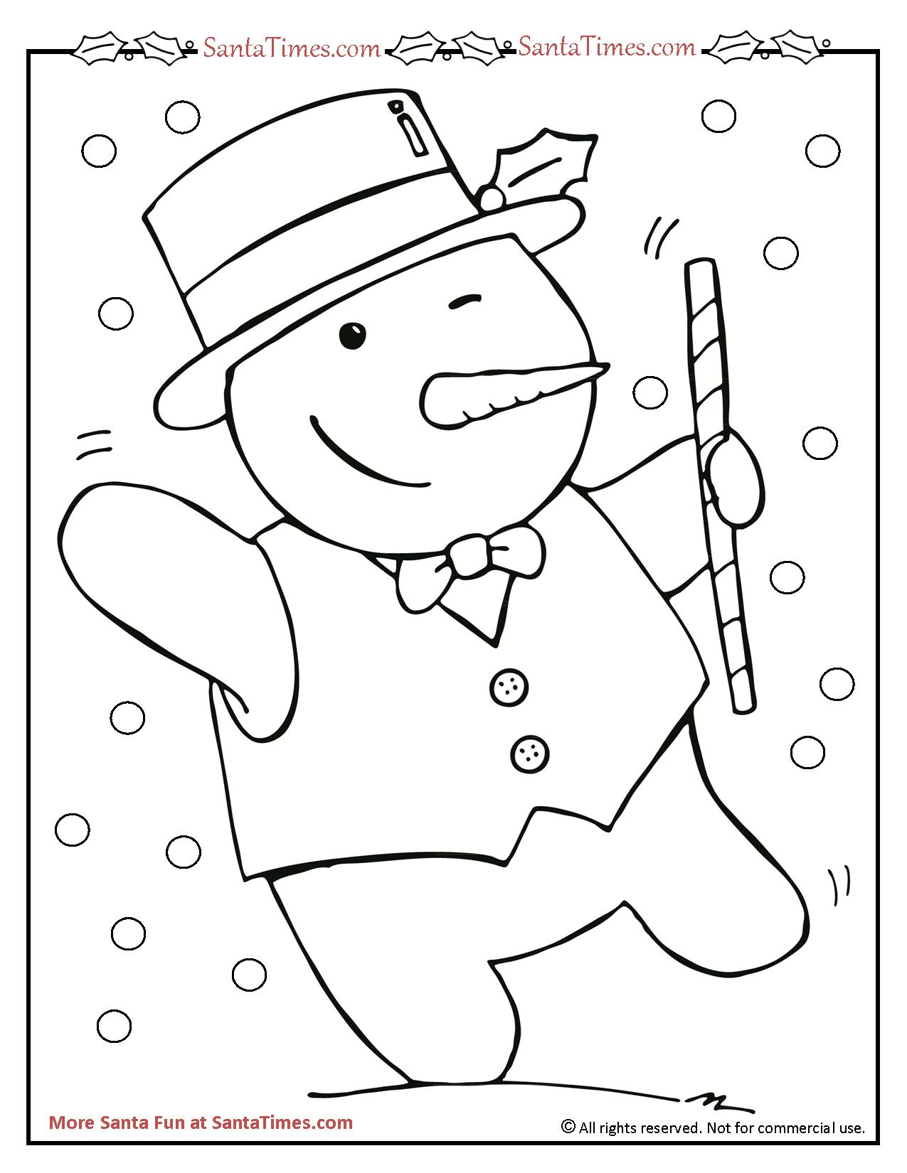 dancing snowman printable coloring page
