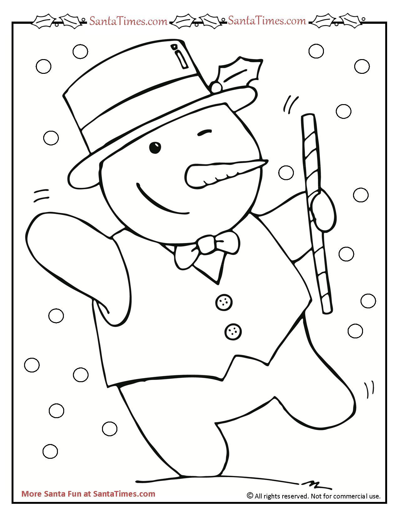 dancing snowman printable coloring page