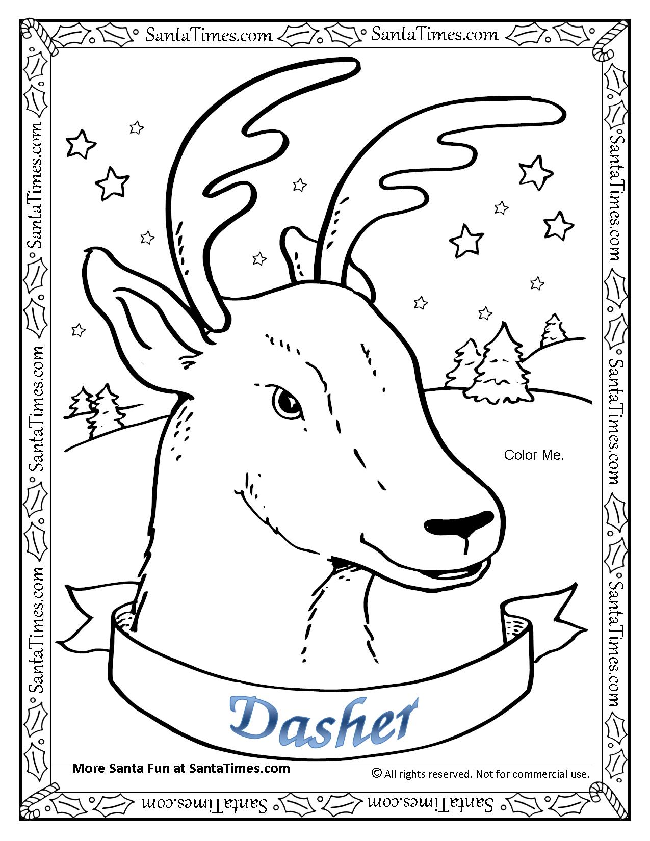 dasher the reindeer printable coloring page