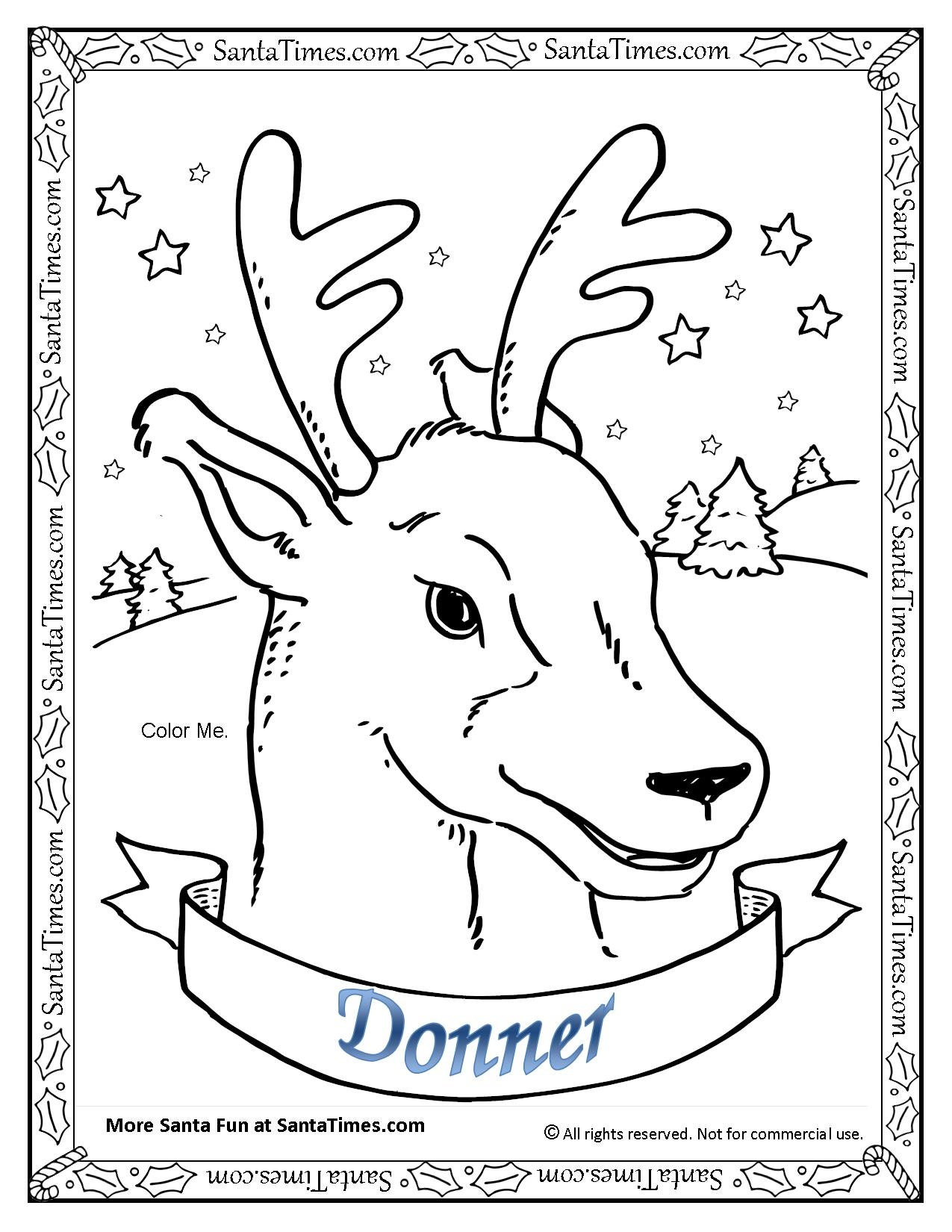 Printable coloring pages reindeer - Donner The Reindeer Printable Coloring Page