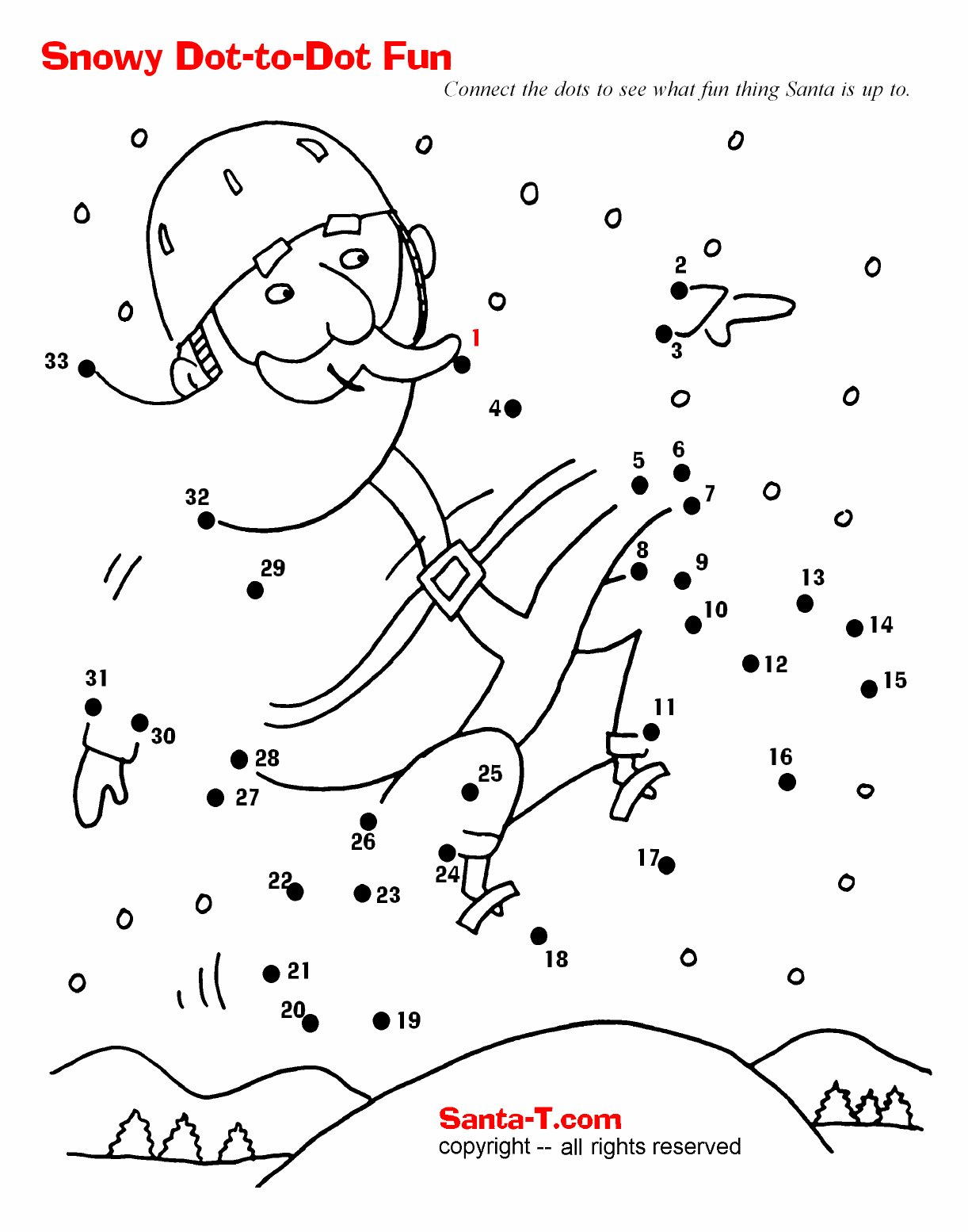 snowy santa fun dot to dot connect the dots to see what fun thing