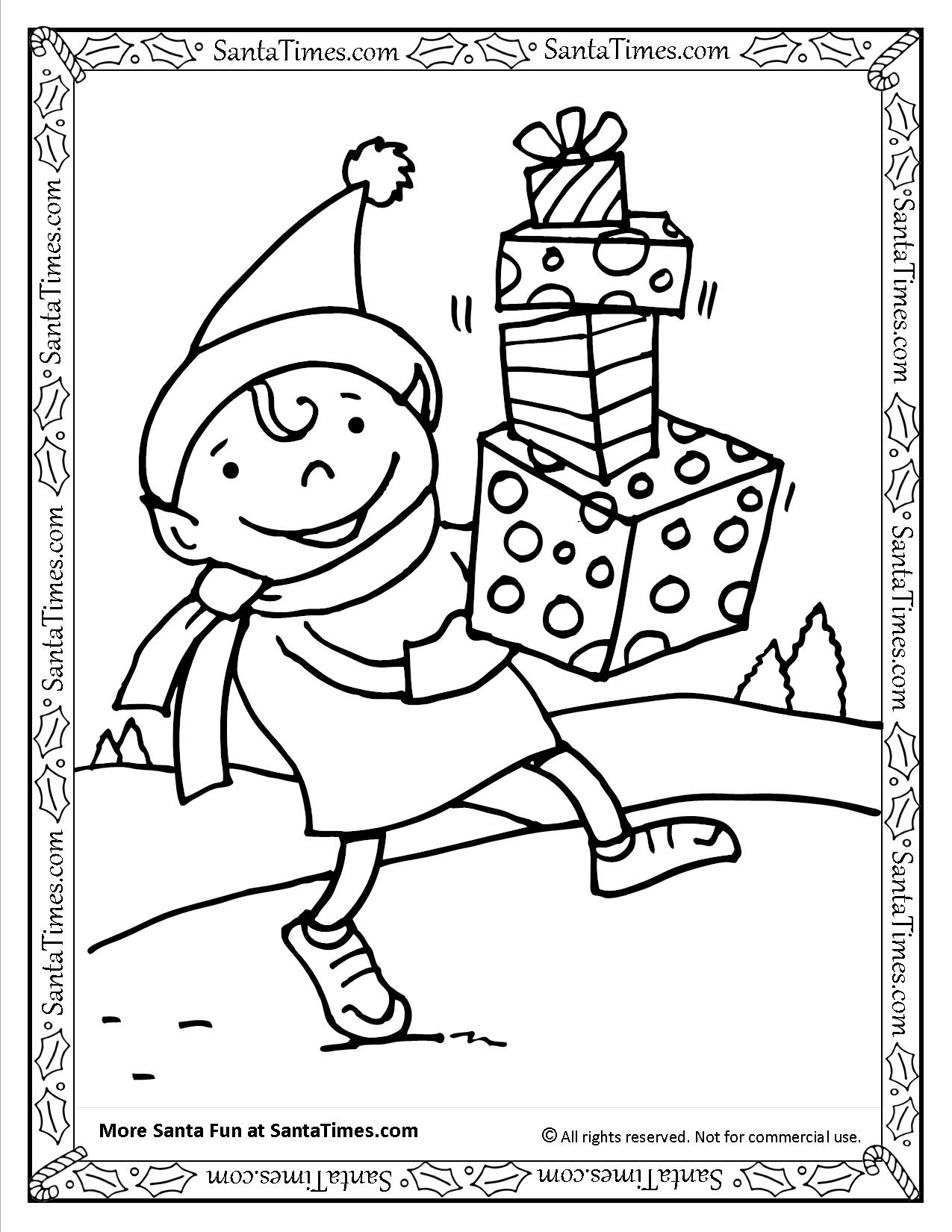 santa u0027s elf printable coloring page