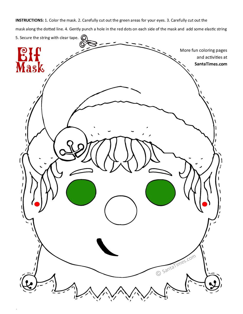 Christmas Elf mask free printable coloring page