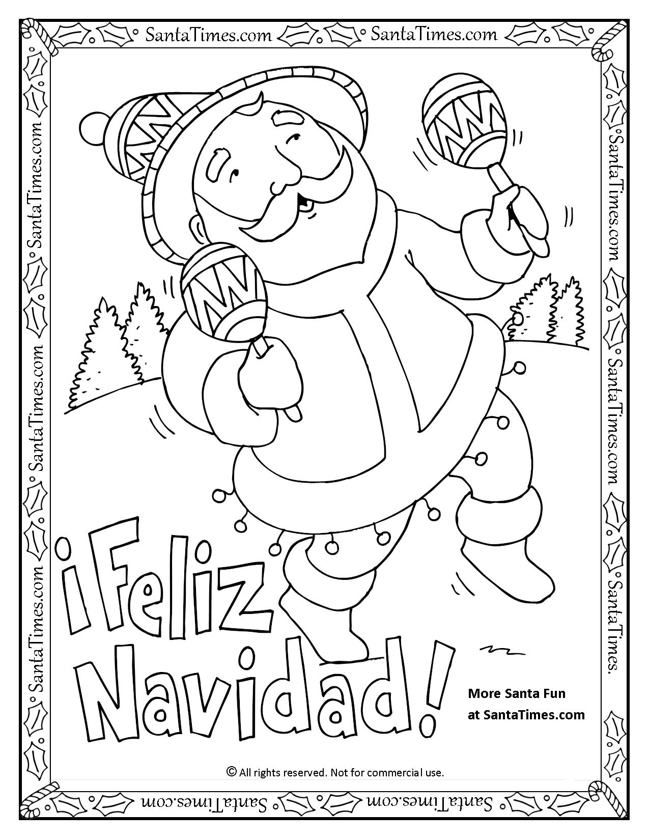Feliz navidad printable coloring page for Christmas coloring pages spanish