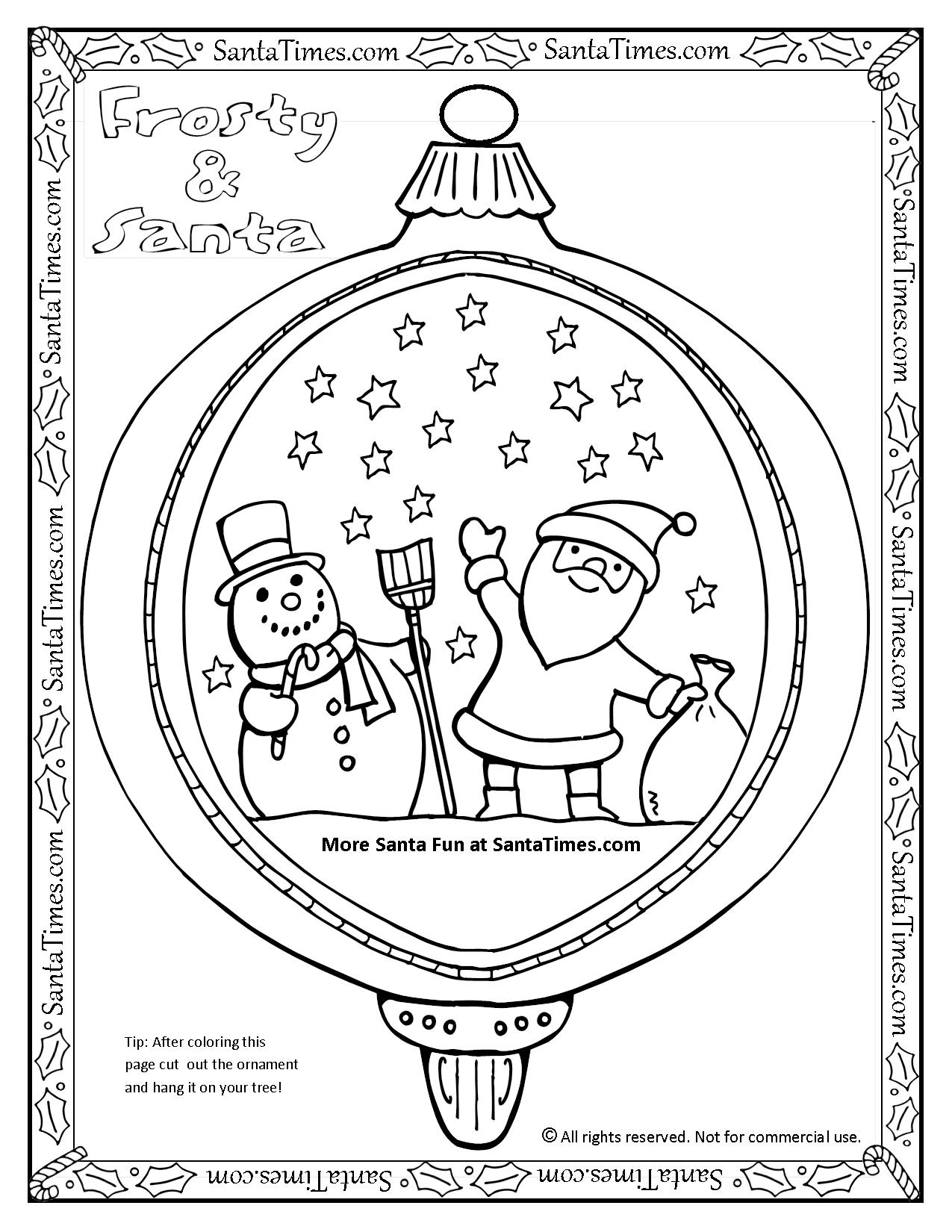 Santa And Frosty Ornament Coloring Page