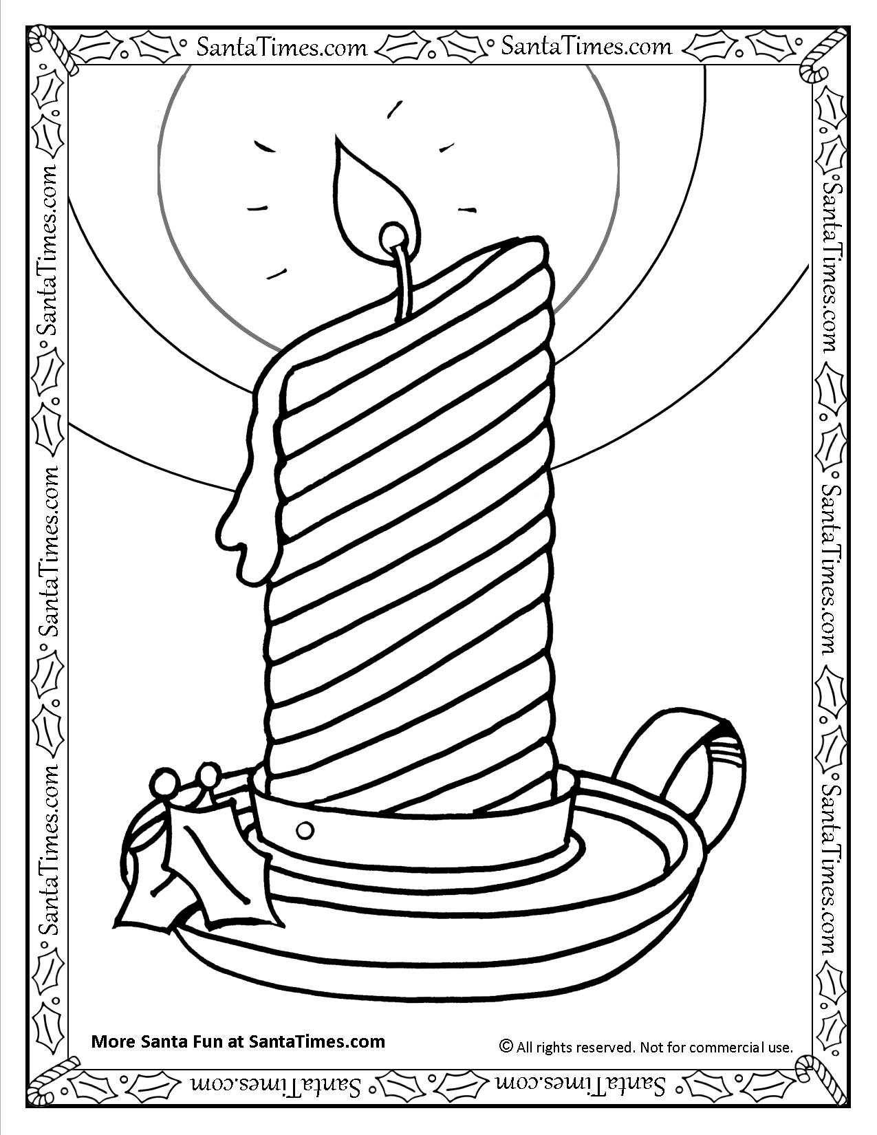holiday candle printable coloring page