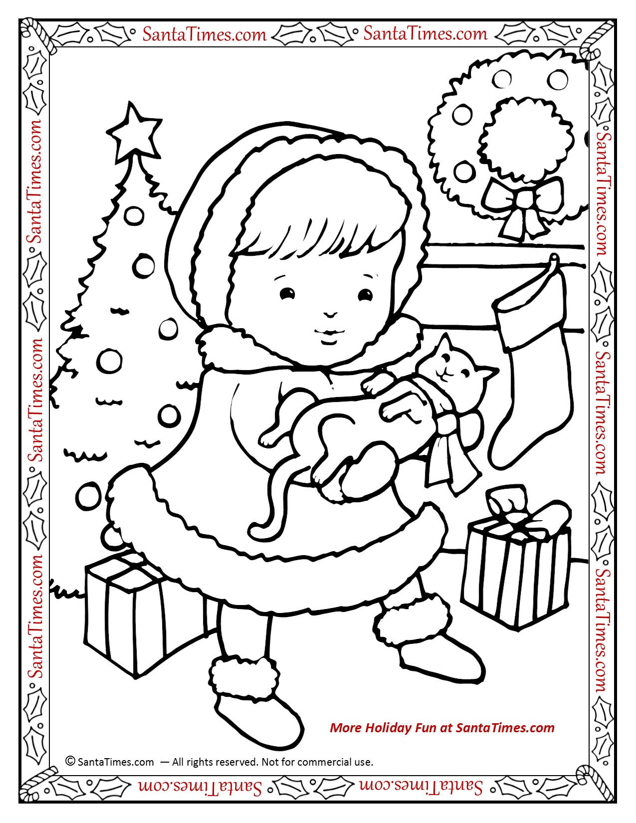 hello christmas kitty printable coloring page