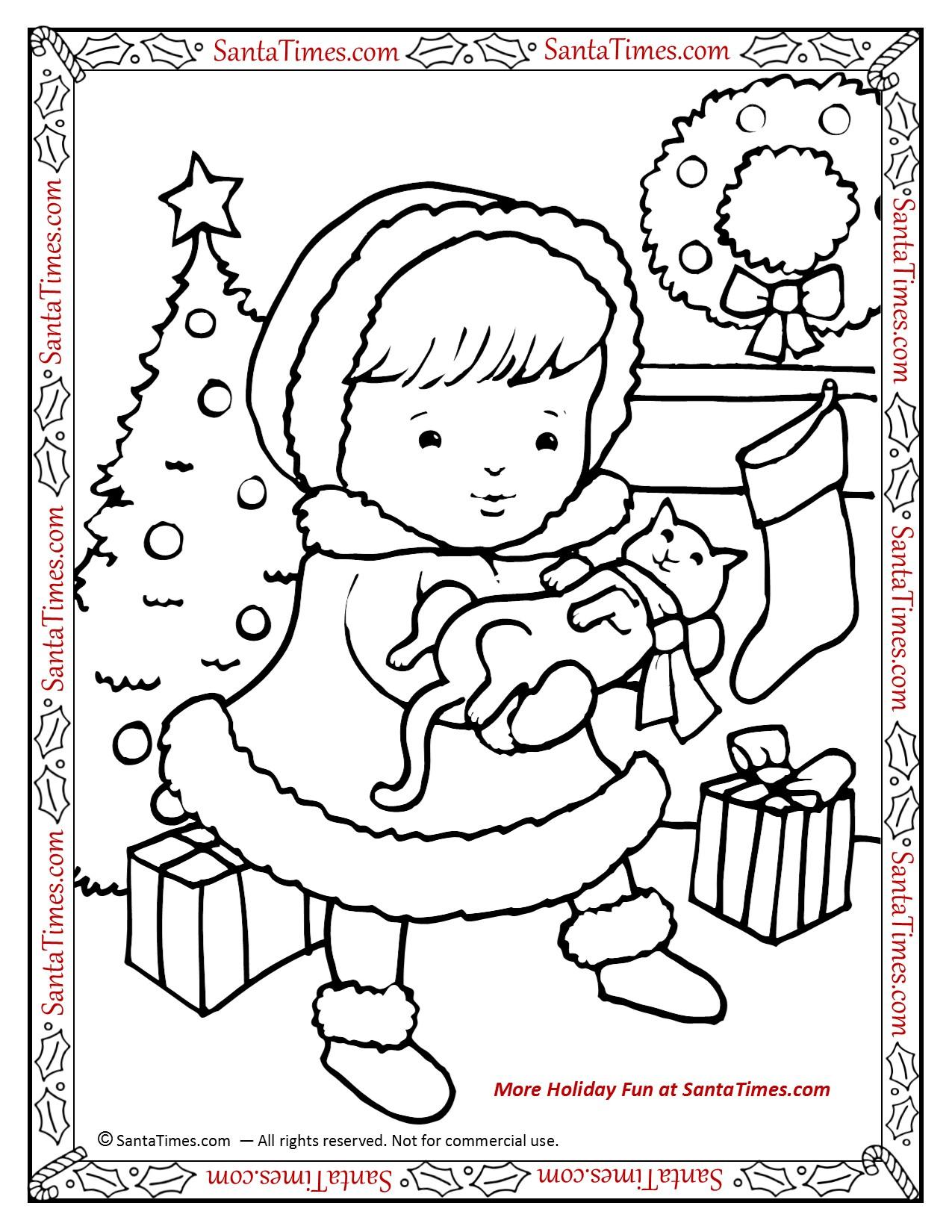 Merry Christmas Kitty Printable Coloring Page