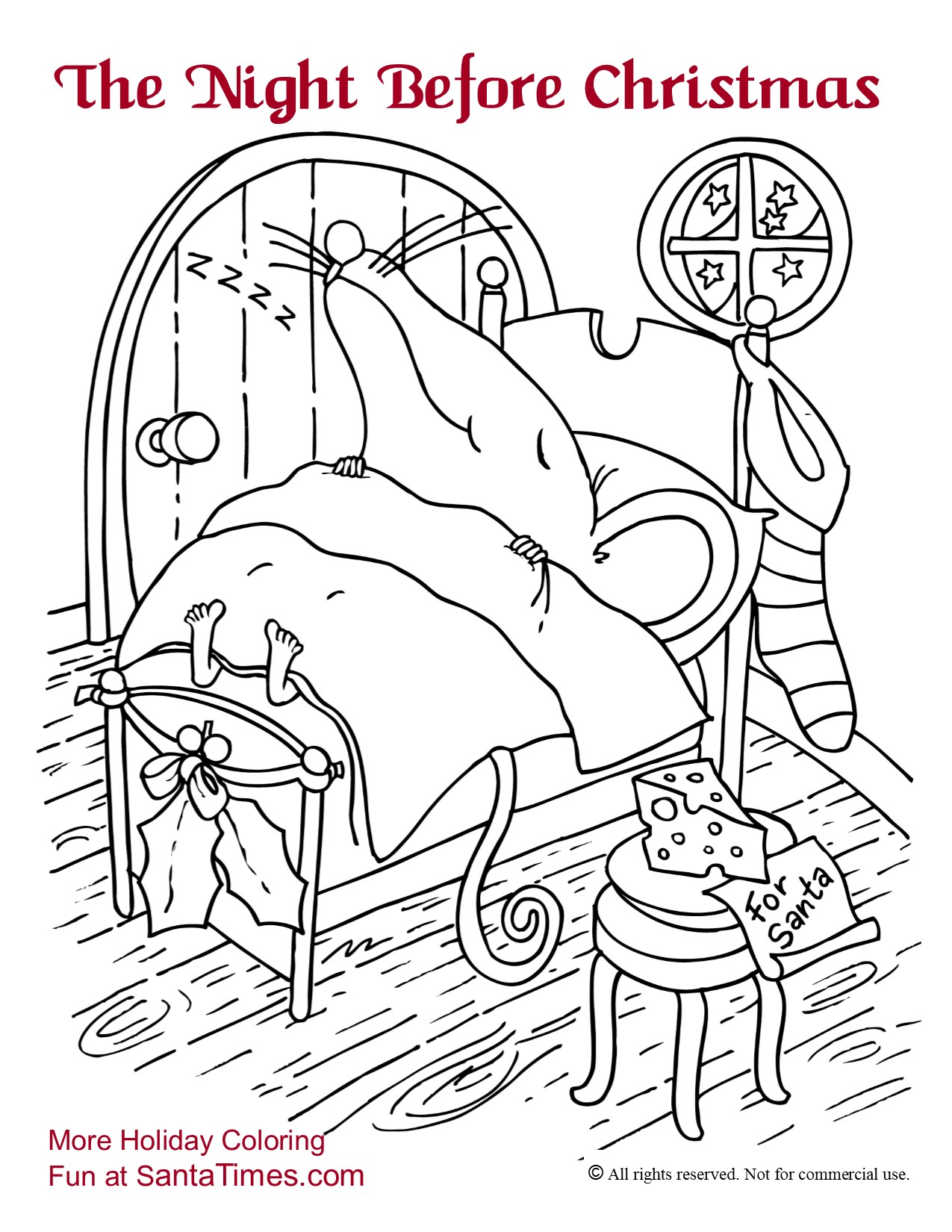 The Night Before Christmas Coloring Page printout