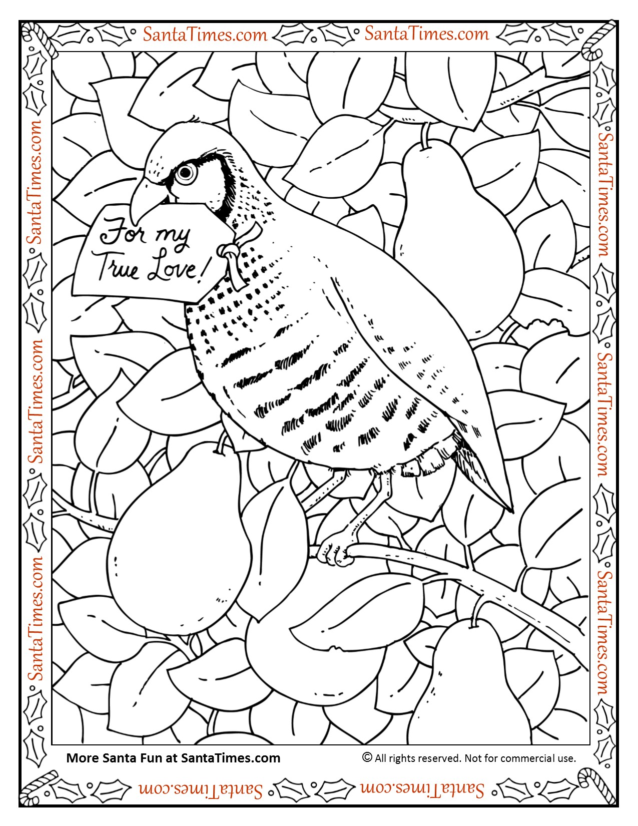 in a Pear Tree Coloring Page