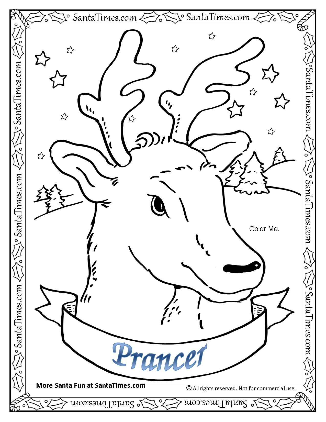 Prancer the reindeer for Santa and reindeer coloring pages printable