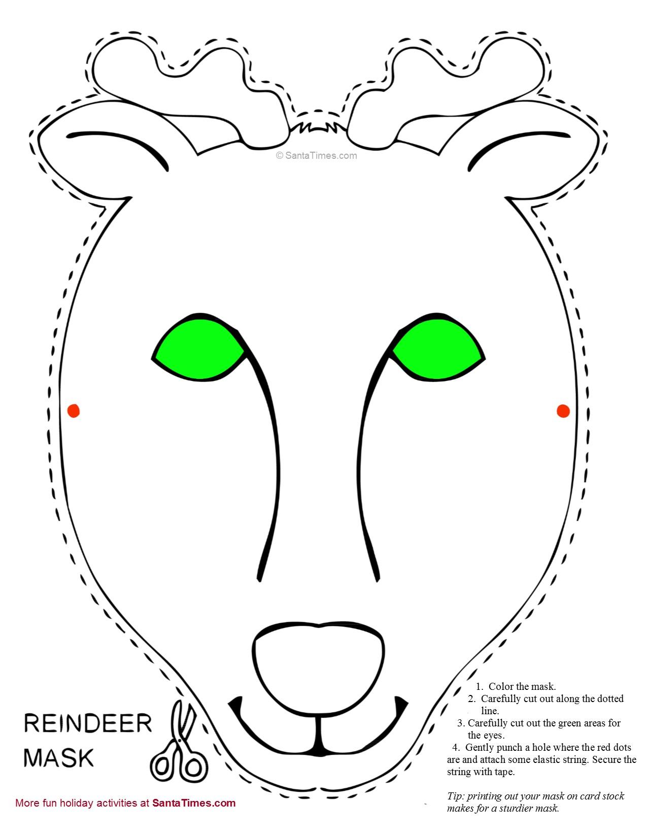 reindeer mask free printable coloring page