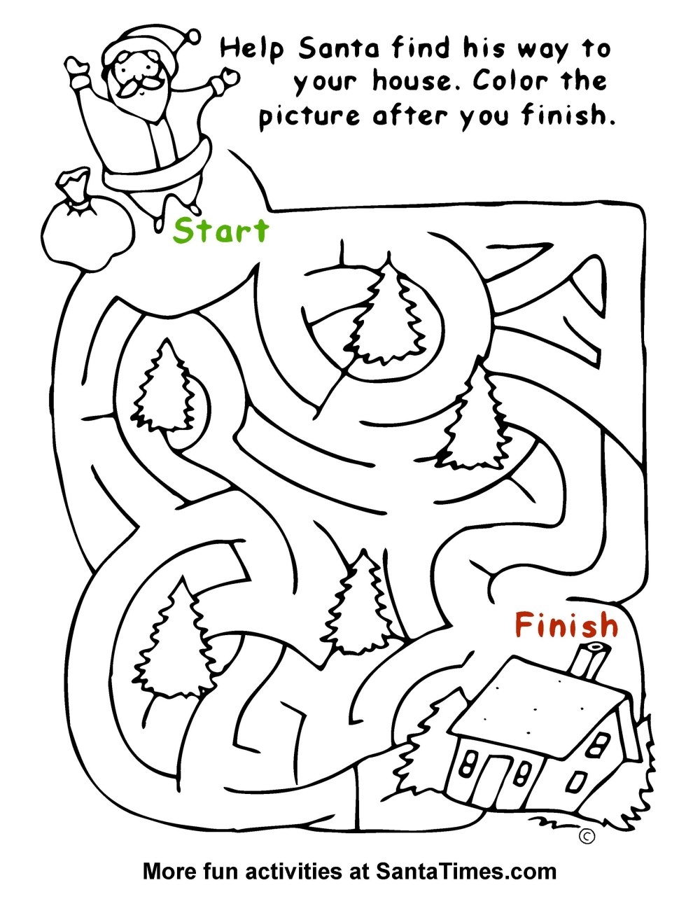 Easy Santa Maze for the little ones! Christmas Coloring Page Activity