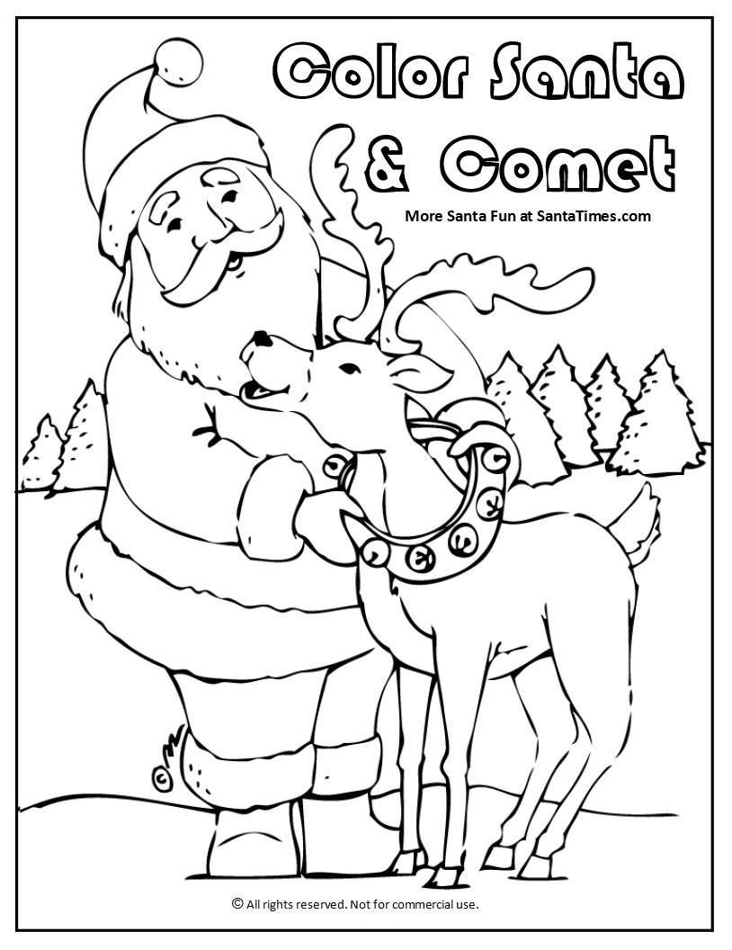 Santa and Comet Coloring Page