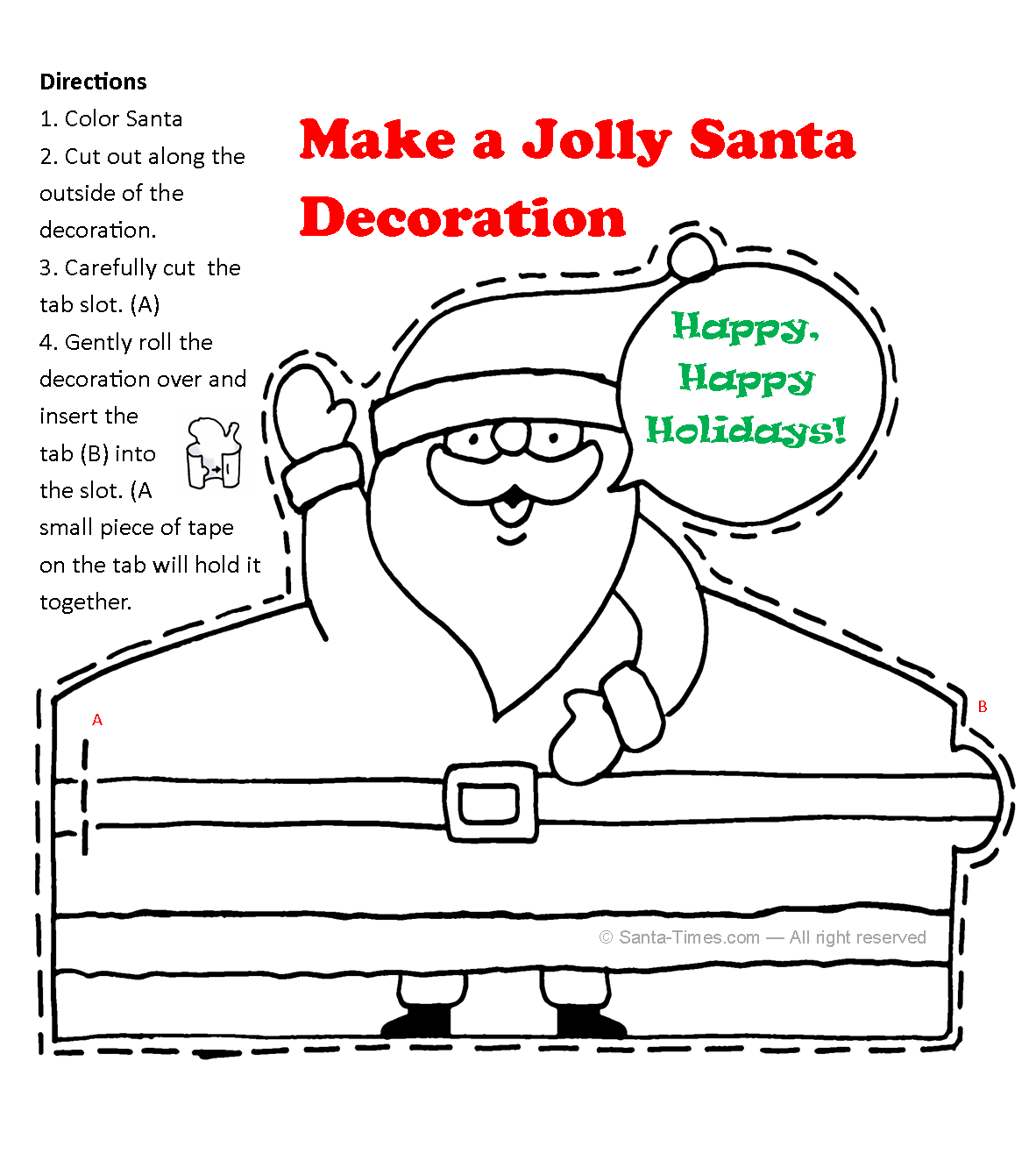 santa claus decoration printout
