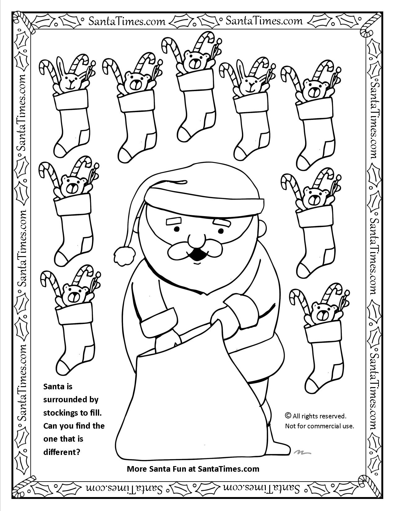 Santa Fills Stockings Christmas Activity and printable Coloring page