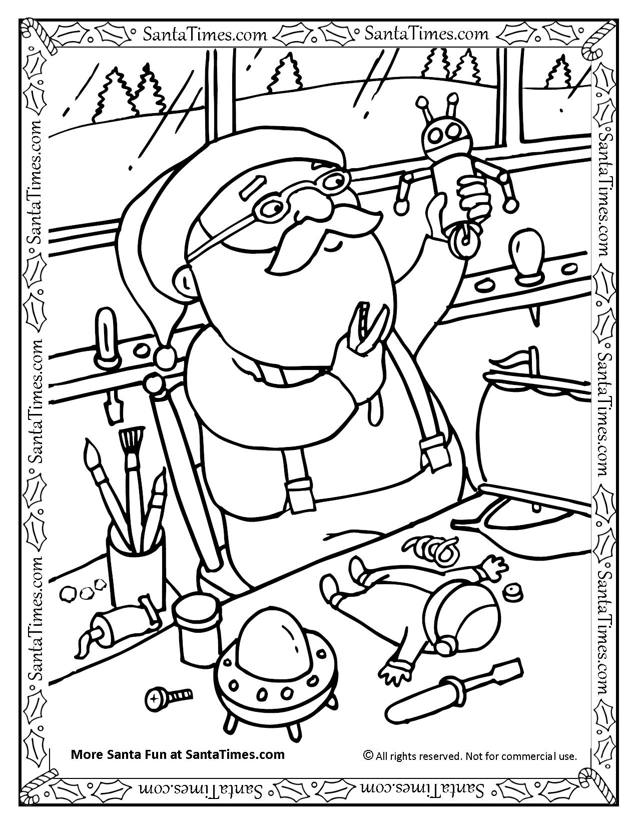 santa in the workshop coloring page
