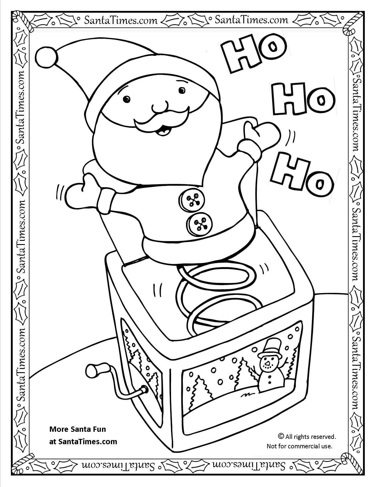 Santa Jack in the Box Coloring Page