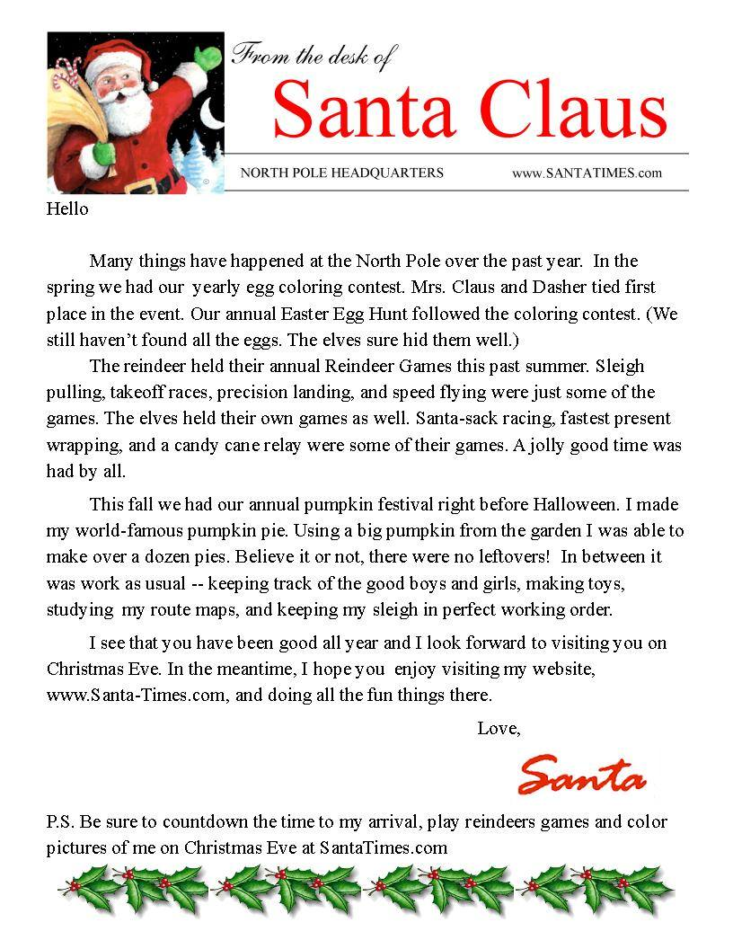 Letter From Santa Claus Pdf
