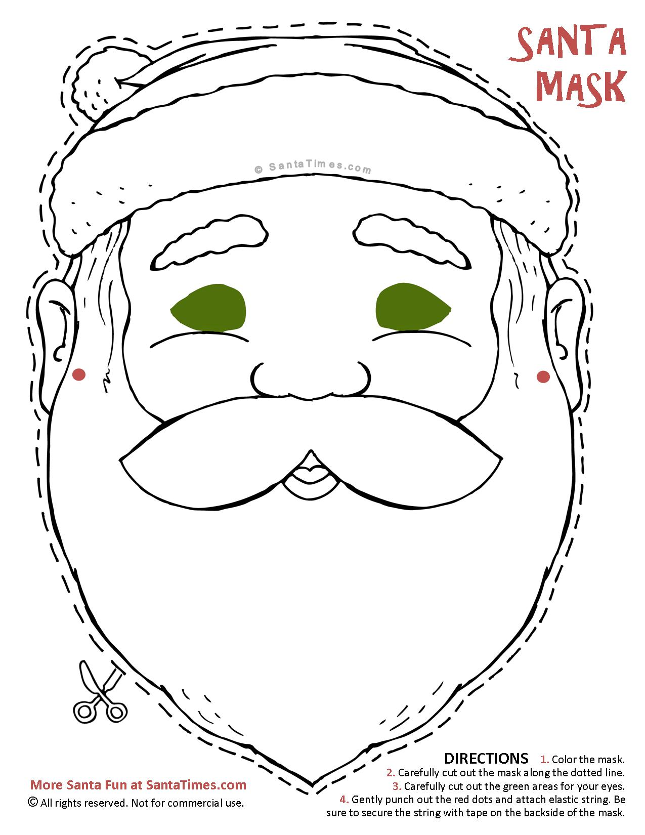 Santa Mask to cut out and color