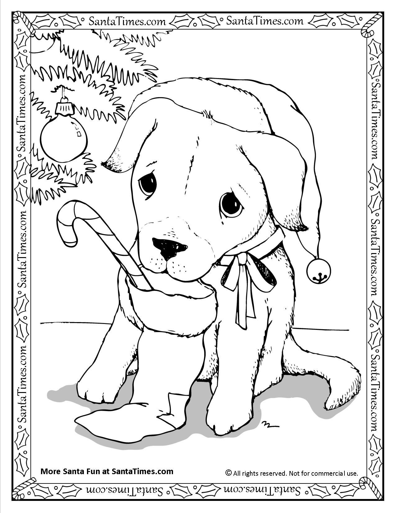Santa Puppy Coloring Page