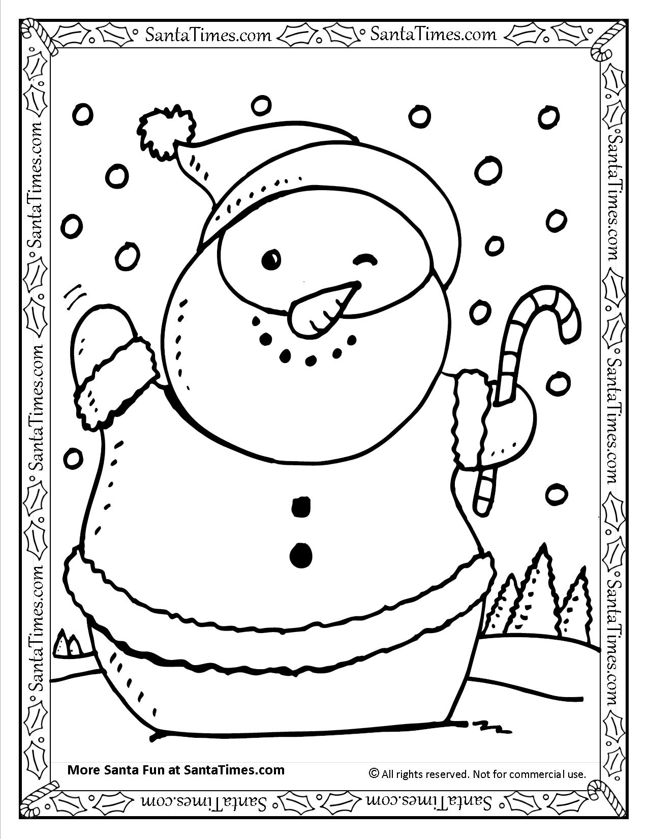 graphic about Snowman Printable Coloring Page called Santa Snowman Printable Coloring Website page