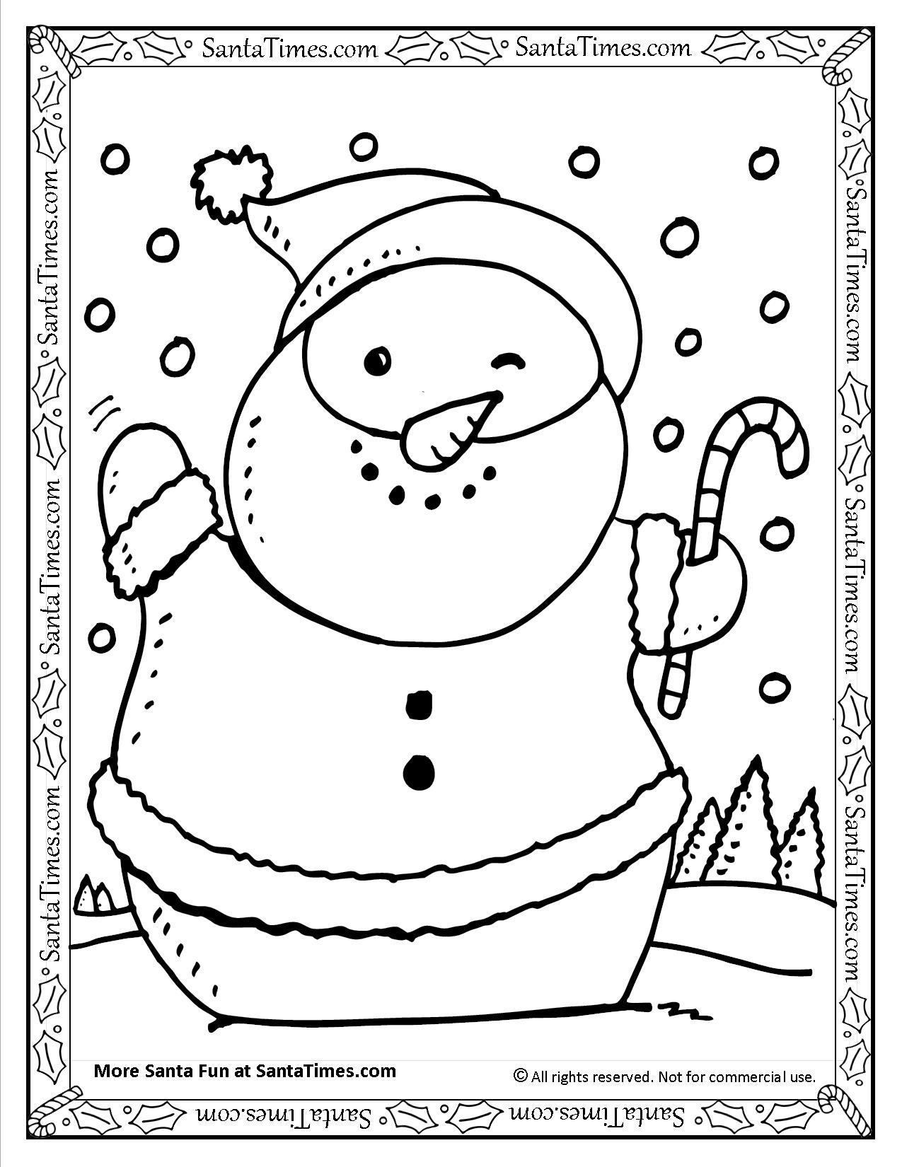 Santa Snowman Printable Coloring Page