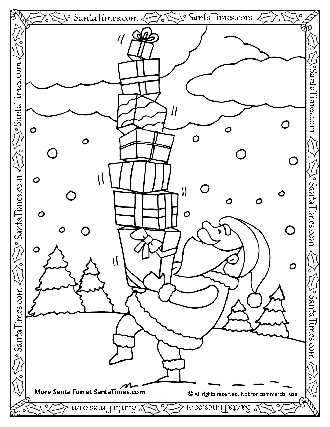 Santa with Presents Printable Coloring Page