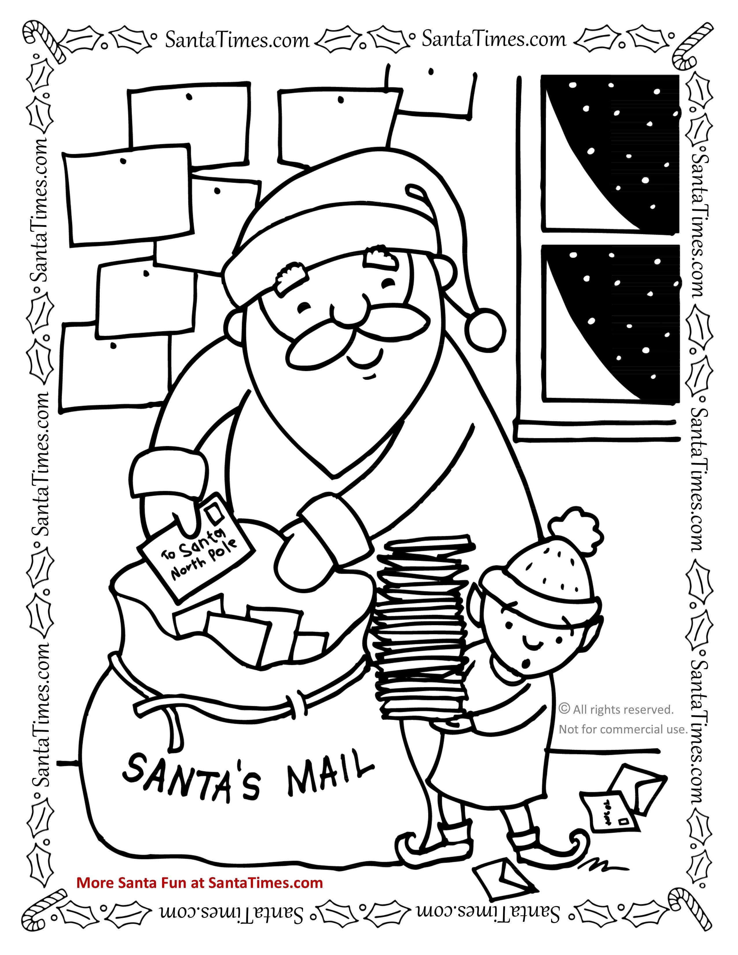 santas mailbag christmas coloring page