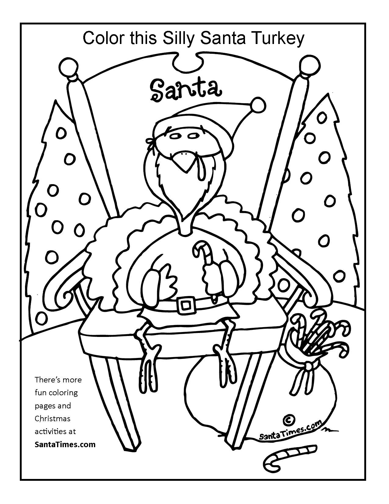 Silly Santa Turkey Christmas Coloring Page