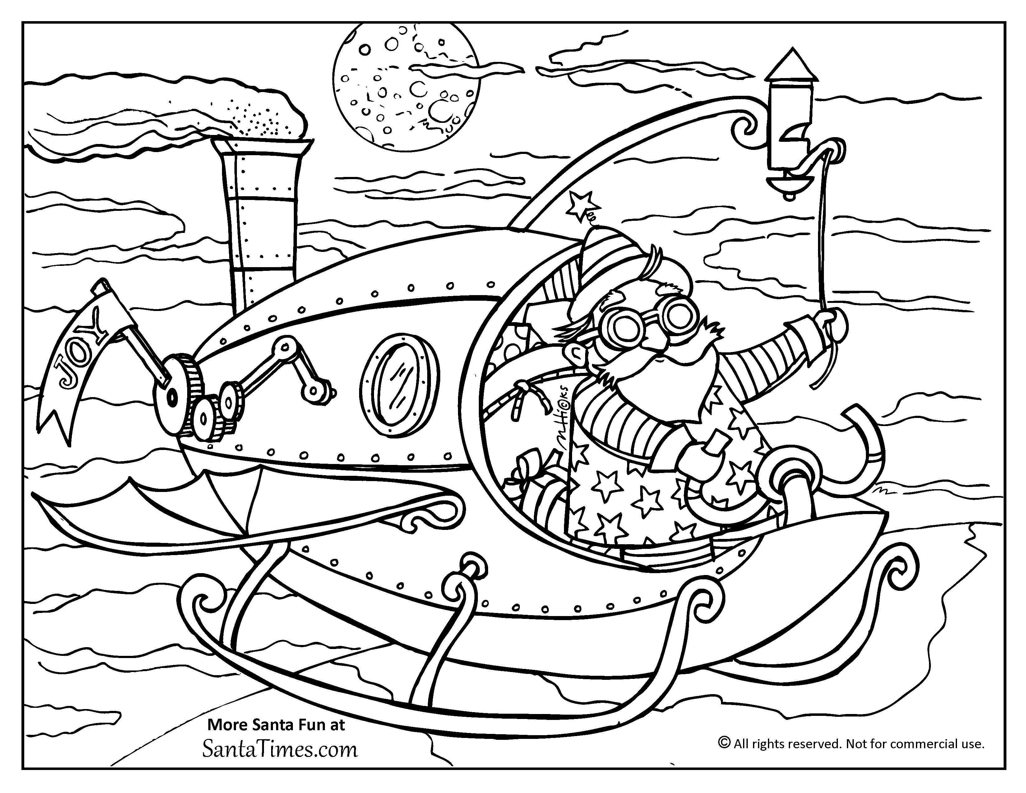 steampunk santa christmas coloring page