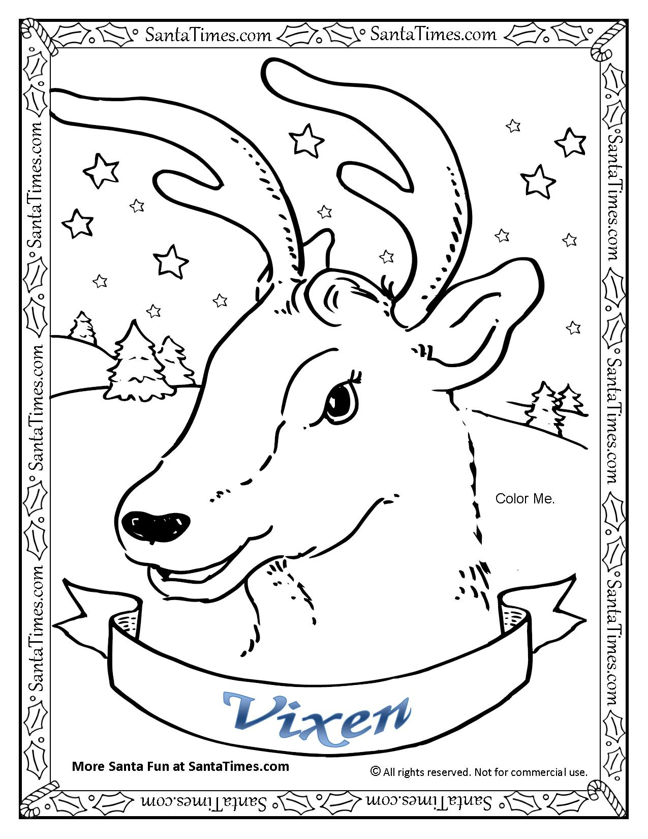 vixen the reindeer printable coloring page
