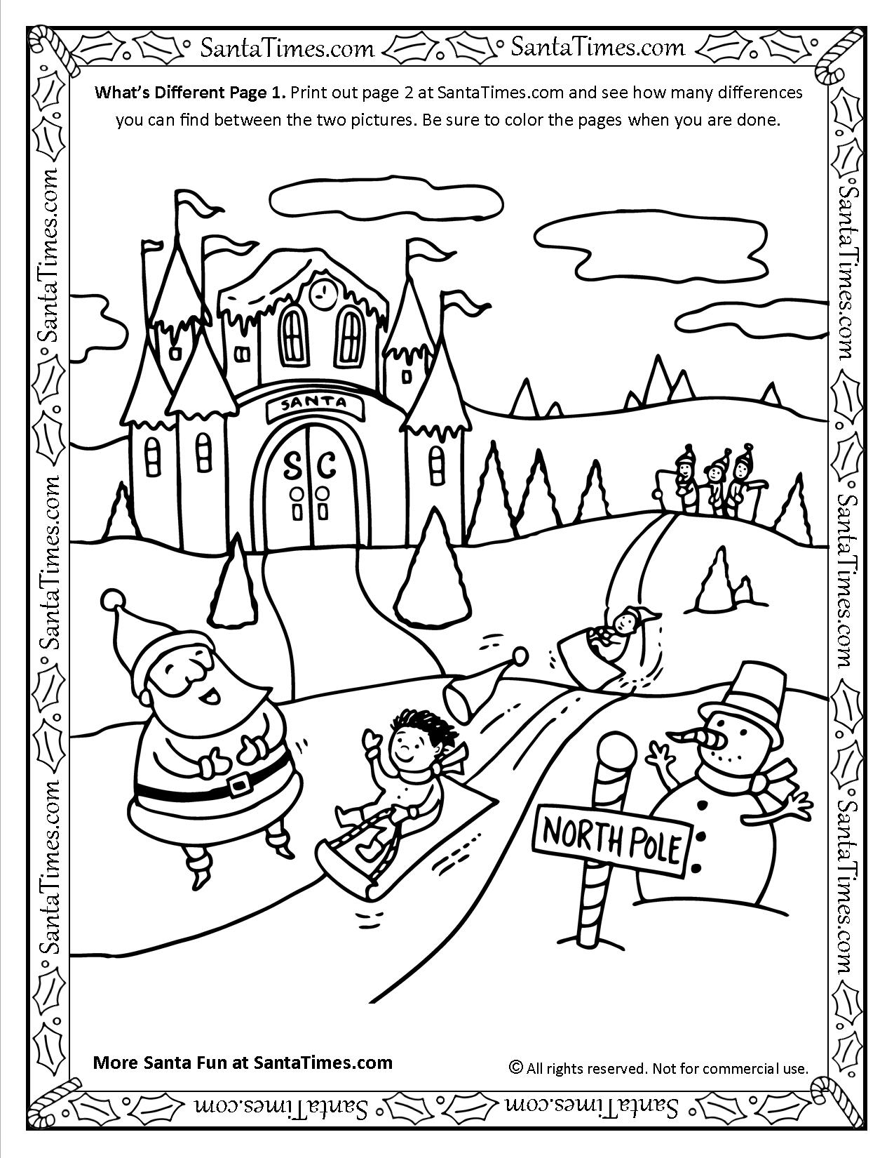 What's Different with Santa Page 1 activity and coloring page