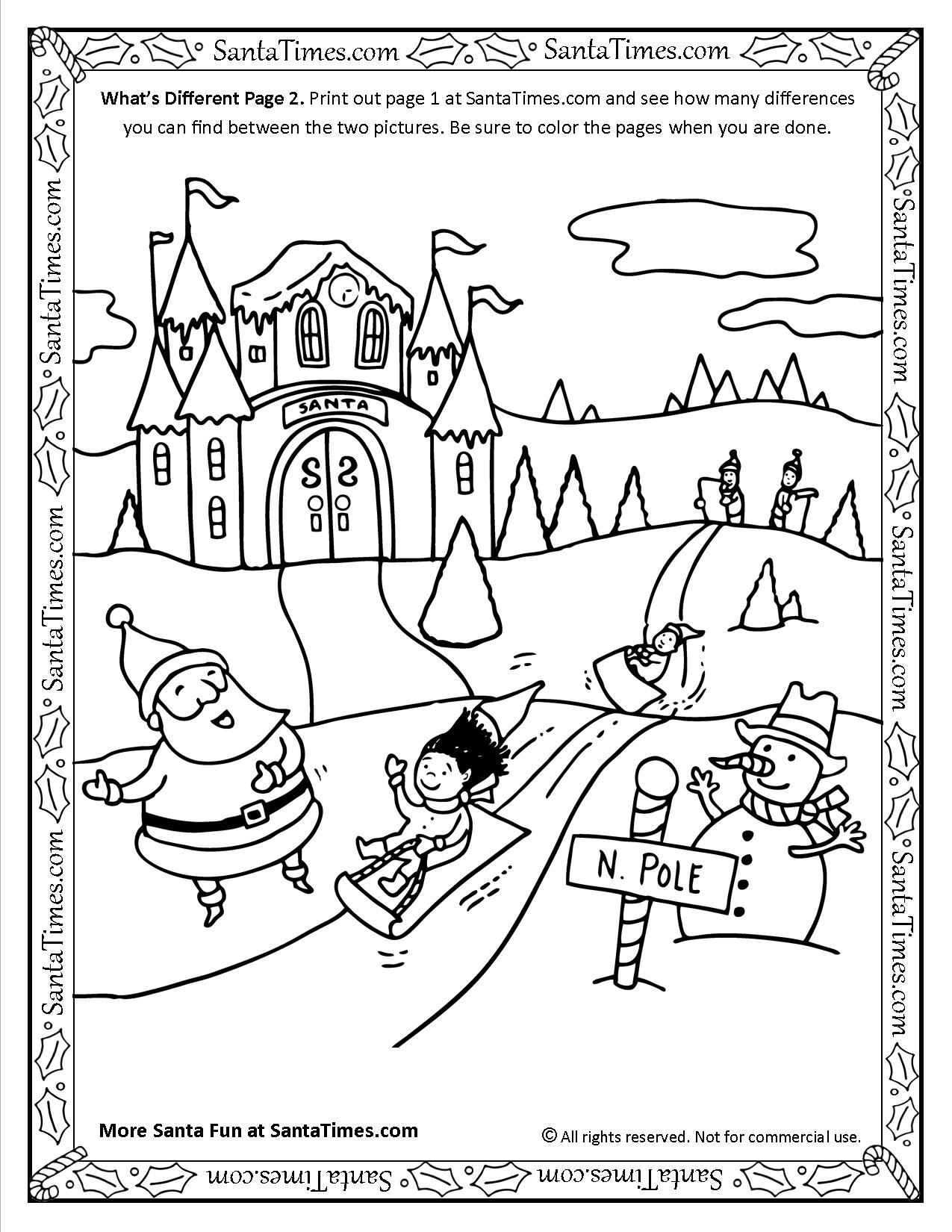 What's different at the north pole page 2 activity and coloring page