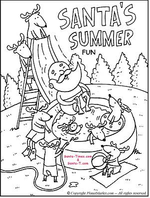 Summer Santa Santas Coloring Page Printout